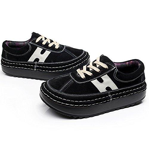 Shenn Donna piattaforma Casuale Confortevole pelle scamosciata Sneaker Scarpe Nero