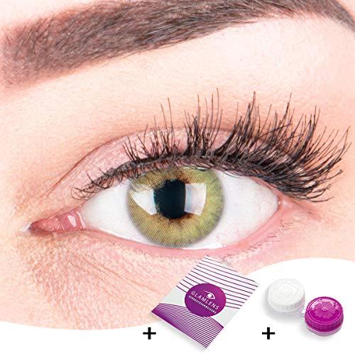 """Sehr stark deckende und natürliche grüne Kontaktlinsen SILIKON COMFORT NEUHEIT farbig \""""Rose Green\"""" + Behälter von GLAMLENS - 1 Paar (2 Stück) - DIA 14.00 - ohne Stärke 0.00 Dioptrien"""
