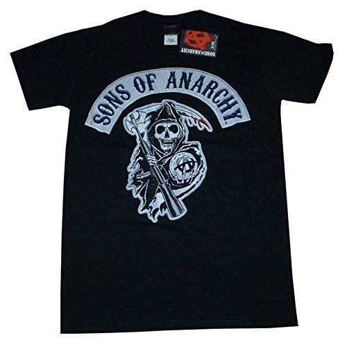 GILDAN Sons of Anarchy Offizielles Farbe Sensenmann Crest Logo, Charlie Hunnam, T-Shirt Gr. Small, schwarz (Monster High Erwachsenen T-shirts)
