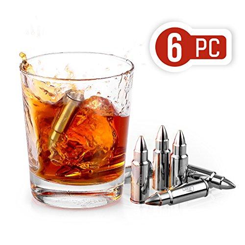 Uten Whisky Steine (6 Stück) aus Edelstahl wiederverwendbare Eiswürfel Kühlsteine