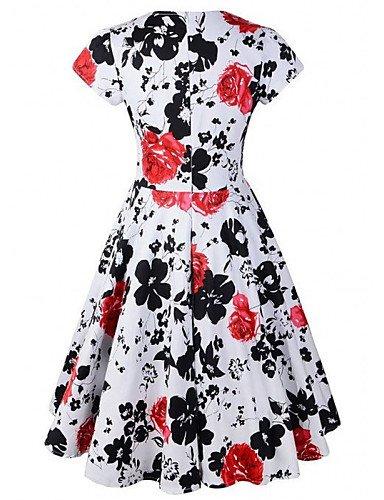 PU&PU Robe Aux femmes Vintage , Imprimé Asymétrique Mi-long Coton / Polyester red-s