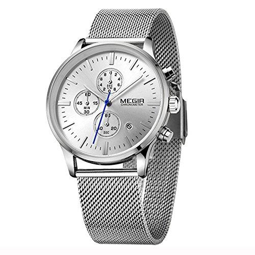 Mode Herrenuhren Quarzuhr Luxus Edelstahl Uhrenarmband Chronograph Kalender Leicht Leuchtend Analog Lässige Armbanduhren Für Herren, Silber