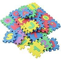 Alfombrilla de juego de 36 piezas, alfabeto y números, de espuma suave, para bebés y niños