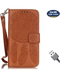 Funda Galaxy S5,Funda Cover Galaxy S5,Aireratze Slim Case de Estilo Billetera Carcasa Libro de Cuero,Carcasa PU Leather Con TPU Silicona Mandala Dream Catcher Flower Case Interna Suave [Función de Soporte] [Ranuras para Tarjetas y Billetera] [Cierre Magnético] para Samsung Galaxy S5 (marrón) (+ Cable USB)