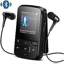 AGPTEK Reproductor MP3 Bluetooth 8GB, G6 Mini Clp3 Mp3 Running con con Radio FM, Grabadora de Voz y Accesorios (Auriculares, Banda del Brazo, Funda Silicona ect.), Color Negro
