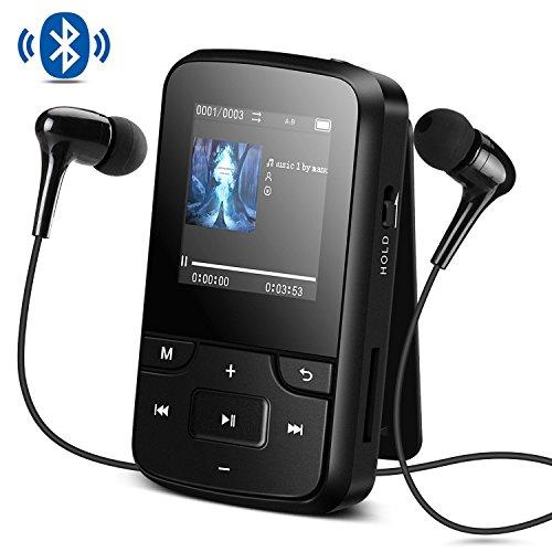 Bluetooth 4.0 8GB Tragbare MP3 Player mit Clip, HD Bildschirm, Diktiergeräte, FM Radio, Lossless Sound, unterstützt bis 128 GB SD Karte von AGPTEK G6, Schwarz (Bluetooth Clip Für)