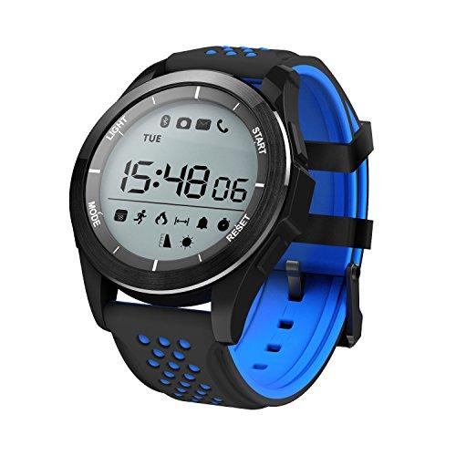 Reloj Inteligente Pulsera Smartwatch IP68 30m Impermeable Reloj Deportivo Bluetooth 4.0 Al Aire Libre Gimnasio Senderismo Fitness Tracker para Android iOS (Negro Azul)