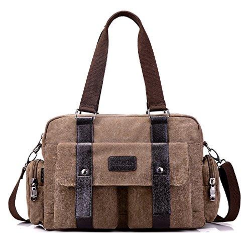 GREAT R-Canvas Tasche Handtasche Messenger Bag Travel Bag Schultertasche Damen Handtasche, Braun