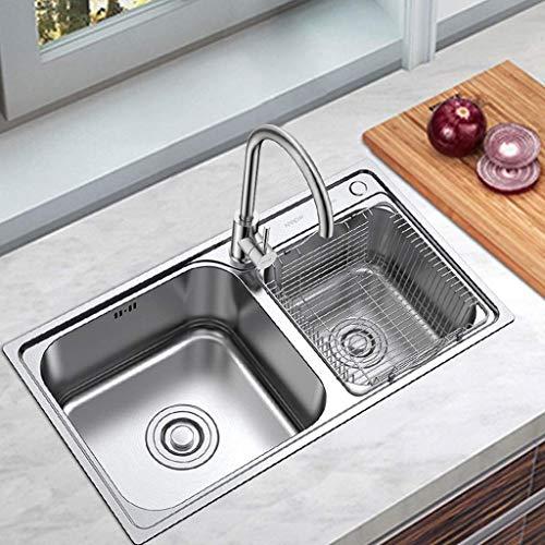 ADWN Edelstahl Double Groove Bowl Kitchen Sink Großer Raum mit Wasserhahn Rechteck gebürstetem Waschbecken -