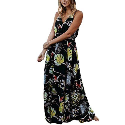 Damen Blumendruck kleid Sommer, LSAltd Frauen V-Ausschnitt Ärmelloses Boho Lange Abendkleid Sundress (Schwarz, M) (Knöchel-länge-strand-kleid)