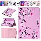 E-Mandala 10 Zoll Hülle Leder Flip Case Tablet PC Tasche mit Kartenfach Ledertasche Lederhülle - Sakura Cherry Blossom