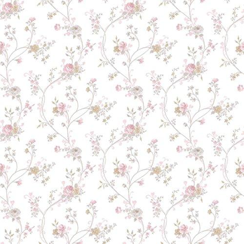 CRISTIANA MASI–Tapete Blumen Country 2527mit Position Punkt von Rose vom Design Romantico Rein-Umgebungen Shabby und provinzieller (Romantica Rosen)