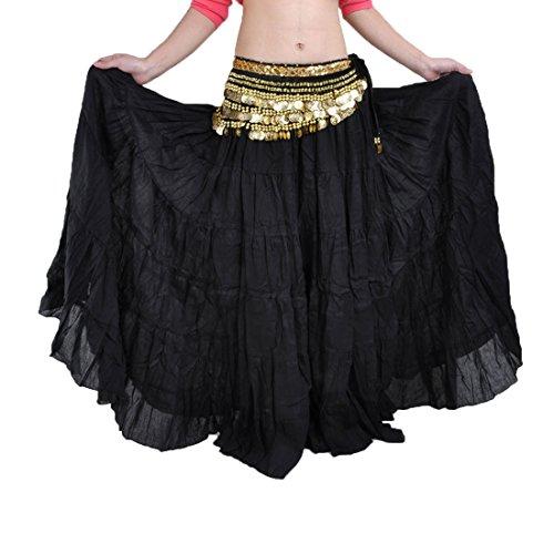 Frauen Kostüm Tänzerin - Calcifer Elegant Leinen Gypsy Swing Bohemian Bauch Dance Rock kostüm Dancing Kleid für Frauen Professional Tänzerin, schwarz