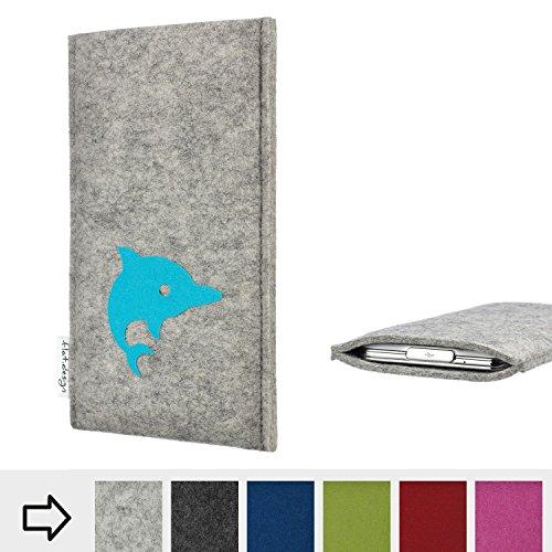 flat.design Handy Hülle für Energizer P20 FARO mit Delphin handgefertigte Filz Tasche fair