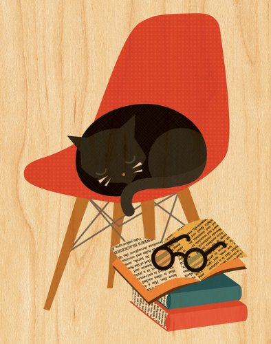 Book Cat Print on Wood - 8'x10'
