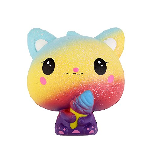 Anboor Squishies Ice Cream Kawaii Slow Steps Squeeze Kitten Toy Colourful Slow Rising Squishies Anti-Stress Toy for Kids Adults (10 * 8 * 11 cm, Pack of 1)