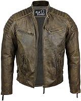 Mens Real Soft Leather Slim Fit Antique Washed Brown Urban Retro Biker Jacket