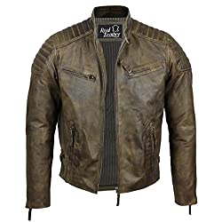 Herren Retro Biker-Jacke aus weichem Echtleder, Slim Fit, verwaschenes Braun Gr. XXL, braun