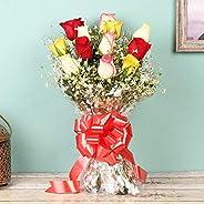Floweraura fresh flowers bouquet of 12 Mix Roses