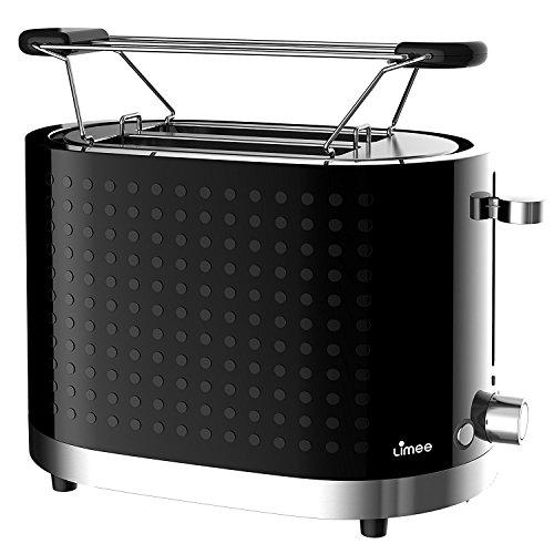 Limee TR0201-Brötchenwärmer 2 Scheibe Toaster mit breiten Schlitzen weiß