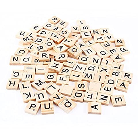 BOMIEN 100Pcs Wooden Scrabble Tiles for Craft Jewellery Making