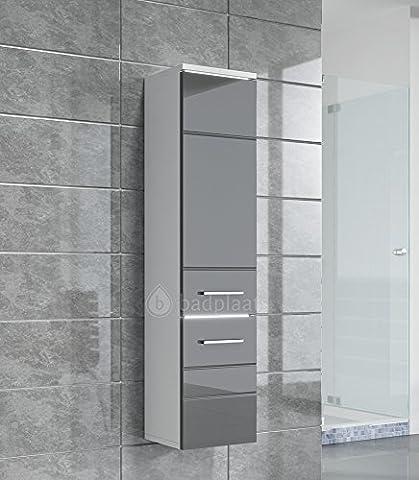 Schrank Toledo 132cm Höhe Grau Hochglanz–Schrank Hochschrank Badezimmer Möbel