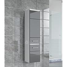 Schrank Toledo 132 Cm Höhe Grau Hochglanz U2013 Schrank Hochschrank Badezimmer  Möbel