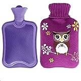 Wärmflasche mit Bezug, Öko Wärmflasche PVC-Strickset,für Babys Kinder und Erwachsene(Lila Eule)