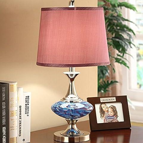 Imitation Marmor Glas Tischlampe Heirat Zimmer Dekoration Geschenk Schreibtisch Lampe Dimmen / Button Dual-Schalter Auswahl Europäische Schlafzimmer Nachttischlampe ( Farbe : Push button Switch )