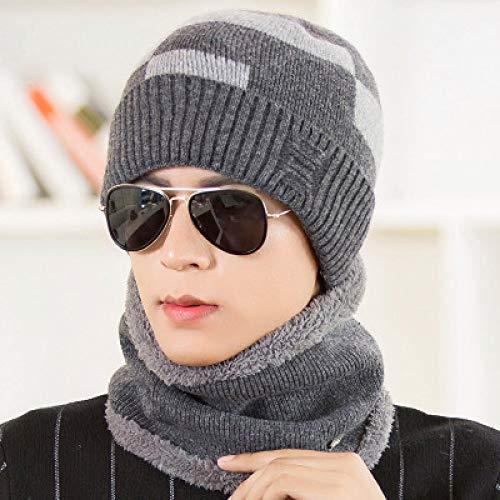 ZKADMZ  Sombreros De Invierno para Hombres Gorros De Cuello Gorro De Punto  Gorro Bufanda Establece Agregar Collares De Punto H e4e300e4731