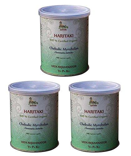 Haritaki Bio (108 Veg Kapseln - 3er pack) - 500mg je Kapsel - 100% Bio-zertifiziertes pflanzliches Nahrungsergänzungsmittel der Lacon GmbH