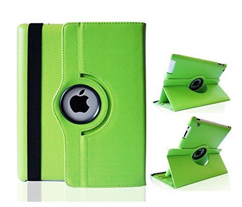 Top&Easy Tech® Premium Smart Cover Leder Tasche Case Schutz Hülle iPad 4 3 2 Grün 360 Grad Schwenkbar drehbar Schutzhülle Etui Horizontal & Vertical View Leather Cover mit An/Aus und Stand Funktion (Grün)