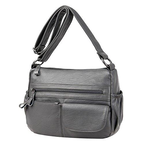Sacchetto Di Spalla Di Modo Delle Donne Sacchetto Di Cuoio Del Sacchetto Di Cuoio Lady Tote Crossbody Bag Multicolor Grey