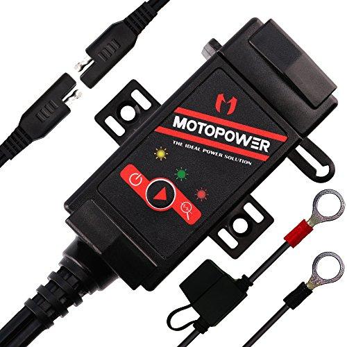 MOTOPOWER MP0608 3.1Amicera Cargador doble USB SAE a USB Adaptador Monitor de batería con interruptor