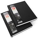 Arteza Zeichenbuch — Skizzenbuch mit Festem Einband — Weißes Zeichenpapier in Hardcover — 2 Stück 100 Blätter pro Notizbuch Total 400 Seiten — 22 cm x 28 cm