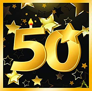 "Forum Novelties-50th Birthday Napkins 13"" (16 in pkt) Servilletas, Color black, gold (X81899)"