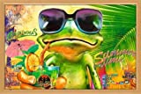 Poster mit Rahmen 61 x 91,5 cm, Holz Buche - Cooler Frosch mit Sonnenbrille gerahmt - Antireflex Acrylglas