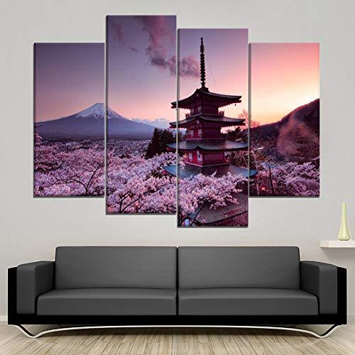 WOKCL Leinwanddruck Modulare Poster HD 4 Panel Pagode und Mount Fuji Moderne Bilder Home Decor Wohnzimmer Gemälde (Poster Mount Fuji)