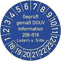 Geprüft gemäß DGUV Information 208-016 Prüfplakette, 100 Stück, in verschiedenen Farben und Größen, Prüfetikett Prüfsiegel Plakette Leitern und Tritte (ehemals BGV D 36)