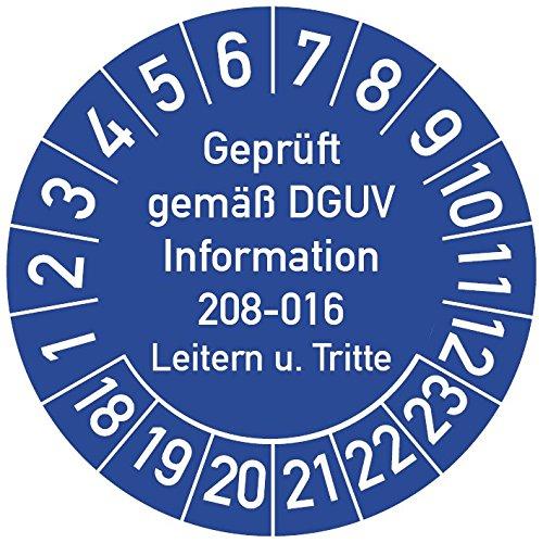 Geprüft gemäß DGUV Information 208-016 Prüfplakette, 100 Stück, in verschiedenen Farben und Größen, Prüfetikett Prüfsiegel Plakette Leitern und Tritte (ehemals BGV D 36) (30 mm Ø, Blau)