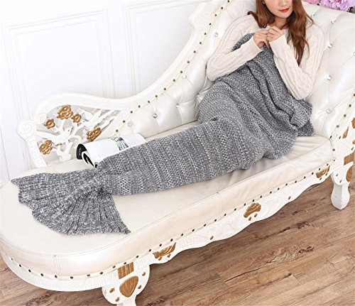 Hengsong Meerjungfrau Schwanz Decke Schlafsack Schlafzimmer Wohnzimmer weiche Gestrickte Mermaid Schwanz Stil Blanket Quilt Sofa Schlafdecke für Erwachsene 76.44*37.4inch (Grau)