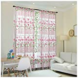 Rcool Morning Glory Flower Sheer Curtain Tulle Window Treatment Voile Drape Valance Panel Fabric Curtain Home Living Room Bedroom Window Decor Curtain (Pink)