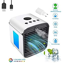 Climatiseur Portable, Mini Climatiseur Mobile, Refroidisseur D'Air Portable - Rafraichisseur D'Air Et Ventilateur, Climatiseur Humidificateur Purificateur 3 En 1, Anti-Fuites (Blanc-JCT)