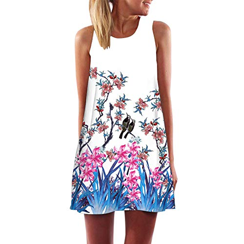 XuxMim Damen Mode Casual Plus Size Rose Print Chiffon O-Neck Rüschen Minikleid(Weiß-7,X-Large)