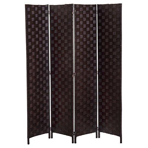 HOMCOM Paravent Trennwand Raumteiler 4 TLG. Spanische Wand Bambus+Holz Braun 160x170cm