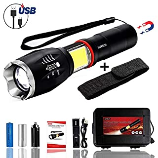 Aukelly LED Torch Flashlights Rechargeable Torches Tactical LED Torches,High Lumens Flashlight Bright LED Torch,Zoomable,6 Modes,Magnetic COB Torch,for Camping,Hiking,Emergency,Battery Included