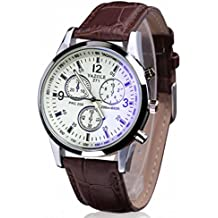 Amsion Marea lujo Blue Ray cuero de imitación de cuarzo analógico reloj de las hombre (marrón y blanco)