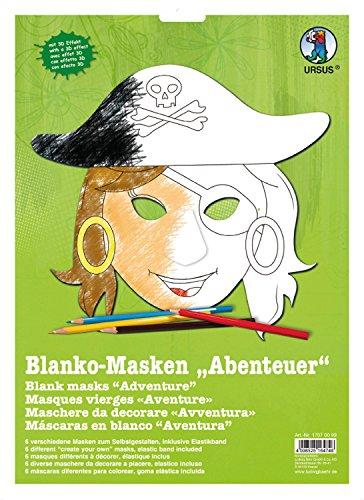 Ursus 17070099 - Masken Abenteuer, 6 Stück, (Piraten Papier Masken)