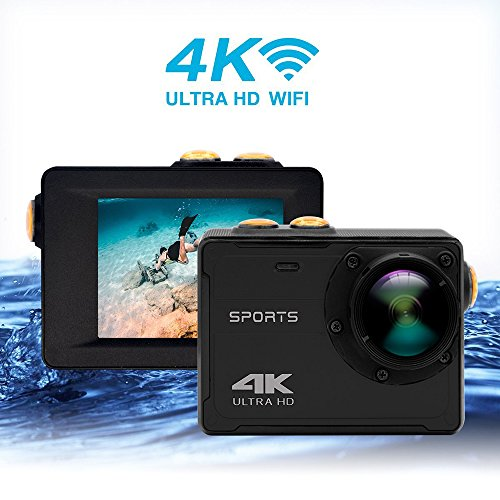 """Vmotal GSV8580 4K WIFI imperméable à l'eau appareil photo d'action, Ultra HD / 2,0"""" LCD / 16MP / 150 degrés grand angle / aucun logement nécessaire dans les 5M sous l'eau (Noir)"""