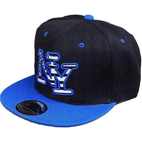 Snap Back–Gorra de béisbol, diseño New York fittet Mujer Hombre Estados Unidos, negro/azul